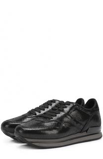 Кожаные кроссовки с тиснением Hogan