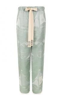 Шелковые брюки прямого кроя с эластичным поясом Loewe