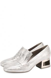 Туфли из металлизированной кожи на фигурном каблуке Vic Matie