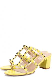 Лаковые босоножки Rockstud на устойчивом каблуке Valentino