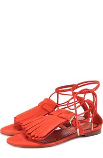 Замшевые сандалии с бахромой Santoni