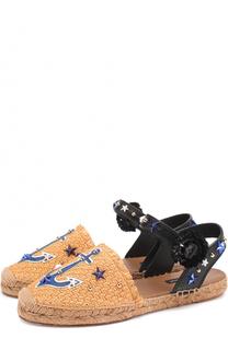 Плетеные эспадрильи с аппликациями и заклепками Dolce & Gabbana