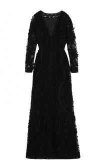 Шелковое платье с декоративной вышивкой и длинным рукавом Oscar de la Renta