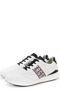 Кожаные кроссовки на шнуровке Dirk Bikkembergs
