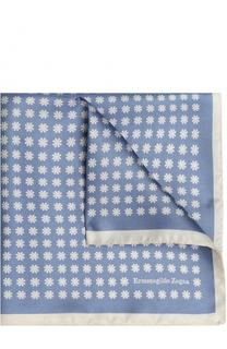 Шелковый платок с узором Ermenegildo Zegna