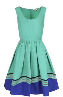 Приталенное мини-платье без рукавов с пышной юбкой Fendi