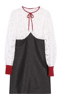 Мини-платье с длинным рукавом и кружевным лифом Bally