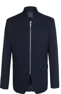 Хлопковый приталенный пиджак на молнии с воротником-стойкой Dirk Bikkembergs