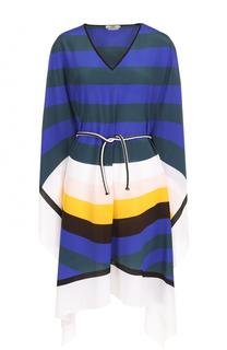 Шелковая туника в контрастную полоску с поясом Fendi