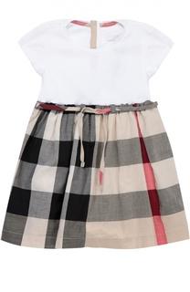 Хлопковое платье с юбкой в клетку Burberry