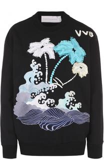 Свитшот свободного кроя с контрастной вышивкой Victoria by Victoria Beckham