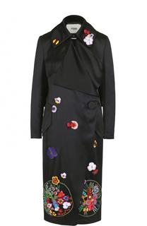 Пальто прямого кроя с декоративной отделкой Fendi