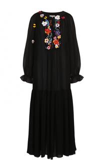 Шелковое платье-макси с цветочной вышивкой Fendi