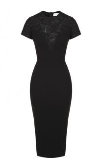 Платье-футляр с коротким рукавом и кружевной вставкой Victoria Beckham