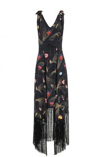 Шелковое платье с принтом и бахромой Fendi