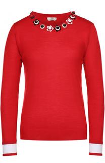 Кашемировый пуловер с декоративной отделкой выреза Fendi