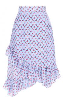 Шелковая юбка с ярким принтом и оборками Altuzarra