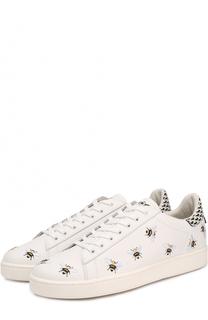 Кожаные кеды на шнуровке с вышивкой MOA Moa