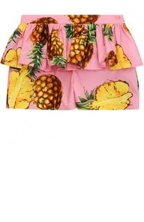 Хлопковые шорты с ярким принтом и оборкой Dolce & Gabbana