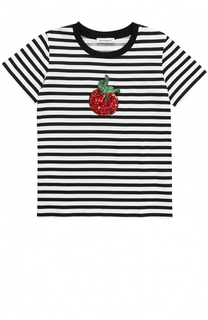 Хлопковая футболка в полоску с пайетками Dolce & Gabbana