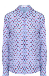 Шелковая блуза прямого кроя с контрастным принтом Altuzarra