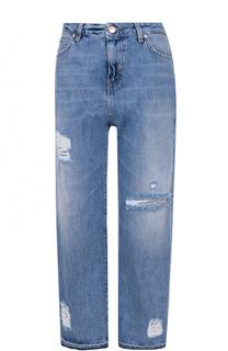 Укороченные джинсы с завышенной талией и потертостями Two Women In The World