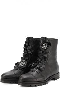 Кожаные ботинки Havana с цветочными аппликациями Jimmy Choo