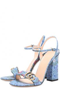 Кожаные босоножки Marmont м цветочным принтом Gucci