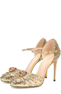 Туфли Polignac с глиттером и кристаллами Gucci