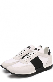 Комбинированные кроссовки на шнуровке Moncler