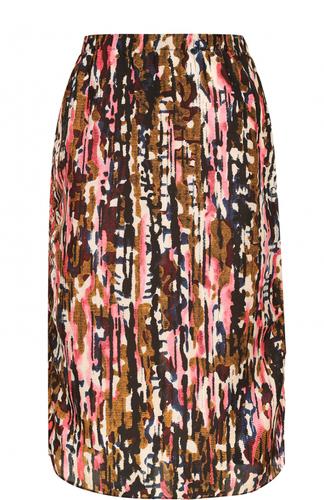 Шелковая юбка с эластичным поясом и ярким принтом Marni