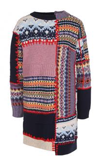 Вязаное мини-платье асимметричного кроя Alexander McQueen