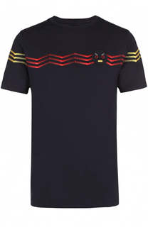 Хлопковая футболка с контрастной вышивкой и отделкой Faces Fendi
