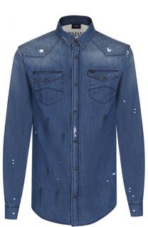 Джинсовая рубашка с контрастной отделкой Armani Jeans