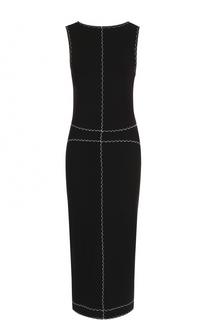 Платье-футляр без рукавов с контрастной отделкой MCQ