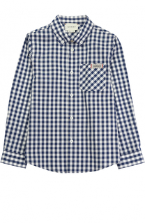 Хлопковая рубашка в клетку с накладным карманом и нашивкой Gucci