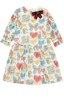 Хлопковое платье с принтом и брошью Gucci