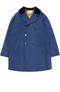 Шерстяное двубортное пальто прямого кроя с нашивкой Gucci