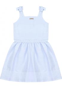 Хлопковое платье в полоску с декоративными бантами Gucci