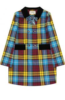 Шерстяное двубортное пальто с принтом и брошью Gucci