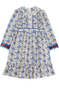 Платье-миди свободного кроя с принтом и пайетками Gucci