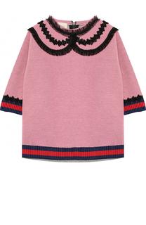 Свитшот с кружевной отделкой и контрастными манжетами Gucci