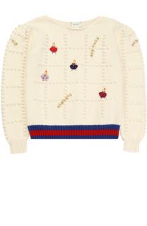Пуловер фактурной вязки с принтом и контрастной отделкой Gucci