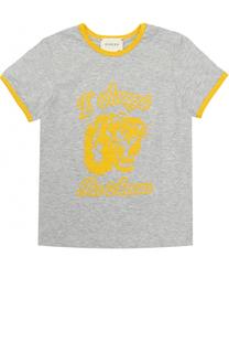 Хлопковая футболка с принтом и контрастной отделкой Gucci