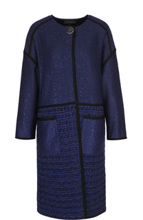 Пальто прямого кроя с пайетками и карманами St. John