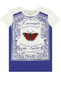 Хлопковая футболка с принтом и аппликацией Gucci
