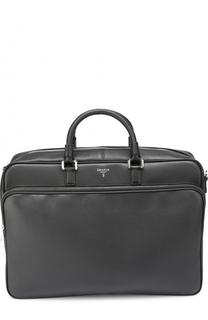 Кожаная сумка для ноутбука с внешним карманом на молнии и плечевым ремнем Serapian