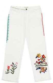 Джинсы свободного кроя с вышивками Gucci