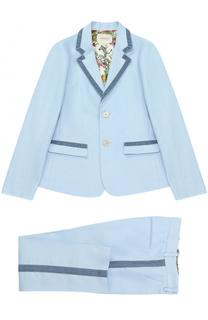 Льняной костюм с контрастной отделкой Gucci