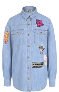 Джинсовая блуза прямого кроя с яркими нашивками Kenzo